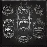 Restaurant labels chalkboard Stock Photos