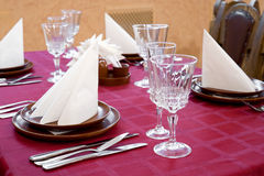 Restaurant laid table Stock Images