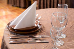 Restaurant laid table Stock Photos
