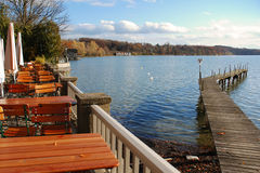 Restaurant at the lake. Restaurant at lake Ammersee, Bavaria, Germany Royalty Free Stock Photo