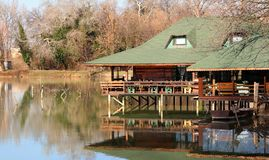 Restaurant on the lake Royalty Free Stock Images