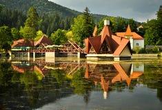 Restaurant on the Lake Ciucas royalty free stock photo