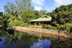 Restaurant in the Le Chevalier Bay Guesthouse. Praslin Island, Seychelles - March 06, 2015: Restaurant in the Le Chevalier Bay Guesthouse Royalty Free Stock Photography