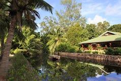 Restaurant in the Le Chevalier Bay Guesthouse. Praslin Island, Seychelles - March 07, 2015: Restaurant in the Le Chevalier Bay Guesthouse Stock Image