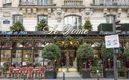 The restaurant Le Dome decorated for Christmas , Paris, France. Paris; France-January 02, 2015 : The restaurant Le Dome  located on Montparnasse boulevard in Stock Photography