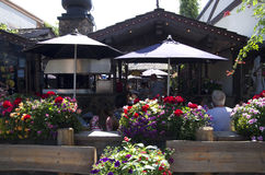 Restaurant in Leavenworth German town Stock Photo