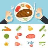 Restaurant-Lebensmittel-Ikonen-Fleisch-Fisch-Gemüse stellte Handtischbesteck-Platten-Gabel und Messer oncept Symbol auf stilvolle Stockfotografie