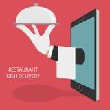 Restaurant-Lebensmittel-Lieferungs-Konzept-Illustration Stockfoto