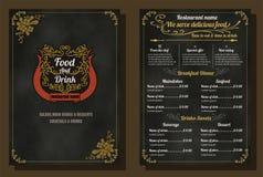 Restaurant-Lebensmittel-Menü-Weinlese-Design mit Tafel-Hintergrund V Stockbild