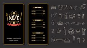 Restaurant-Lebensmittel-Menü-Weinlese-Design mit Tafel-Hintergrund V Stockfotos