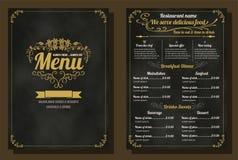 Restaurant-Lebensmittel-Menü-Weinlese-Design mit Tafel-Hintergrund Stockfoto