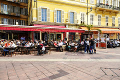 Restaurant Les Ponchettes bei Cours Saleya, Nizza Stockbilder
