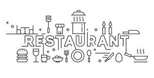 Restaurant Line Art Design. Culinary Concept Background and Banner. Black and White Monoline Design. Black and White Doodle Vector stock illustration
