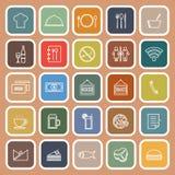 Restaurant line flat icons on orange background Stock Photo