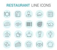 Restaurant Line Icons. Restaurant and cafe - 20 line icons Vector Illustration
