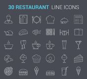 Restaurant Line Icons. Restaurant and cafe - 30 line icons Stock Photos