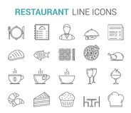 Restaurant Line Icons. Restaurant and cafe - 20 line icons Royalty Free Illustration