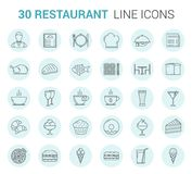 Restaurant Line Icons. Restaurant and cafe - 30 line icons Stock Photography