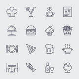 Restaurant line icons vector set. Pizza and ice cream, cupcake and hamburger, food illustration Royalty Free Stock Images
