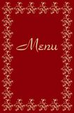 Restaurant list of dishes. A cover in baroque style as a menu for restaurants or bars. Symmetric geometries on a dark red background. The decorative design is Royalty Free Stock Photography
