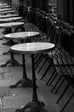 Restaurant little tables in the street, Paris. May 2008 Royalty Free Stock Images