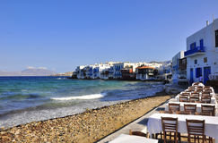 Restaurant at Little Venice, Mykonos. Stock Images