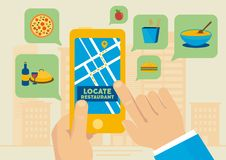 Restaurant location application illustrator Stock Images
