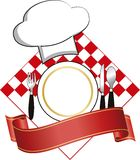 Restaurant logo. Logo  with plate and hat for restaurant Royalty Free Stock Image