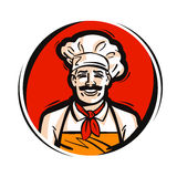 Restaurant, logo de vecteur de café nourriture fraîche, cuisson, menu ou icône de chef Image stock