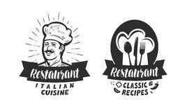 Restaurant logo. Eatery, diner, bistro label. Lettering vector illustration Stock Photos