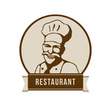 Restaurant logo with face of a chef. Stock Photo