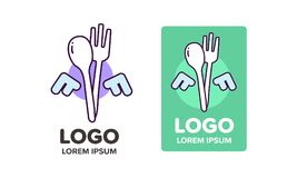 Restaurant logo or food business with text. Pictogram logo Stock Image