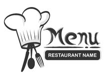 Restaurant logo fork. Menu and logo of a restaurant with chef hat and fork and spoon Stock Photos
