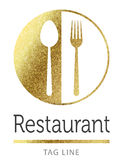 Restaurant logo. Restaurant fork spoon logo in gold Stock Image