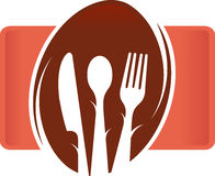 Restaurant logo. Illustration drawing of a restaurant logo with isolated background Stock Image