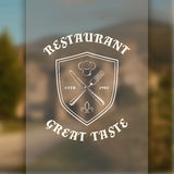 Restaurant logo template with shield, knife and Royalty Free Stock Image