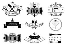 Restaurant logo templates. Templates of logos and icons of the restaurant, bar, barbecue in vector graphics Royalty Free Stock Photo