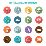 Restaurant long shadow icons. Flat vector symbols Royalty Free Stock Images