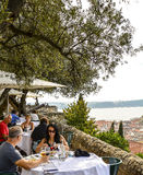 Restaurant looking over Lisbon Royalty Free Stock Photo
