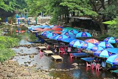 Restaurant during low tide in summer. At Thailand royalty free stock photos