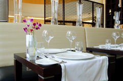 Restaurant in luxury hotel. Dubai, United Arab Emirates Stock Photo