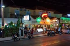 Restaurant at the main road of Laganas Royalty Free Stock Photos
