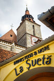 Restaurant on the main square of the medieval city of Brasov Stock Image