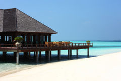 Restaurant on Maldives beach Stock Photography