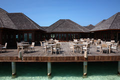 Restaurant on Maldives beach Stock Photos