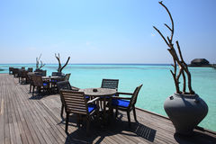 Restaurant on Maldives beach Royalty Free Stock Image