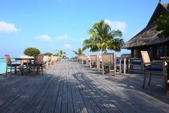 Restaurant in Maldives Stock Photo