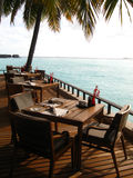 Restaurant in maldivian resort Royalty Free Stock Photography