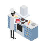 At Restaurant. Male Chef Taking Pot on Cooker. At kitchen. Male chef taking pot with water on four-burners cooker. Process of meal preparing. Sauce bottles and Royalty Free Stock Photos