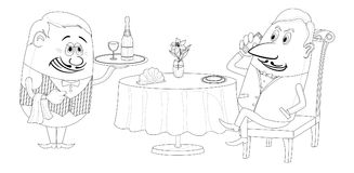 Restaurant, man near table, isolated contour. Respectable man sitting behind restaurant table while waiter gives him a tray with champagne, funny cartoon Stock Image